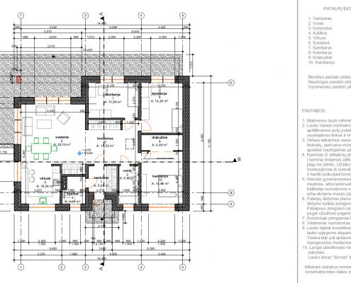 Sava Architektūra namų projektai - 1 planas