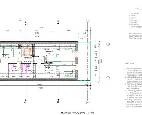 Sava Architektūra namų projektai - 2 planai mansarda