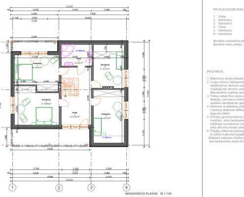 Sava Architektūra namų projektai - 4 planai mansarda